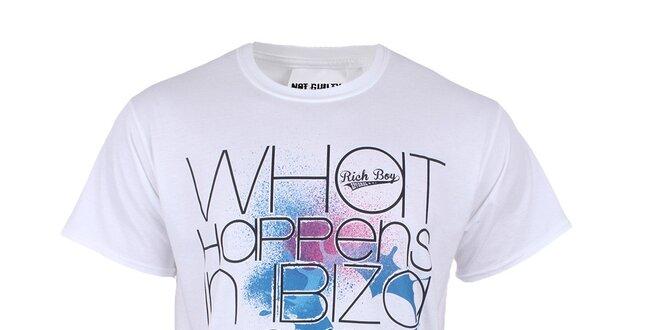 d10586177 Pánské bílé tričko s nápisem Not Guilty Rich Boy | Slevomat.cz