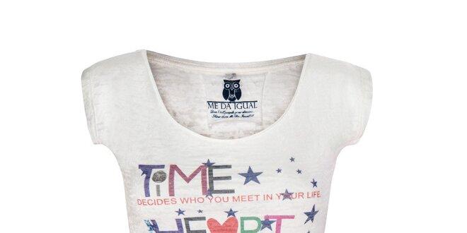 Dámské bílé tričko s barevným nápisem Me Da Igual