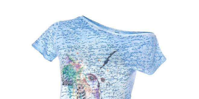 Dámský modrý top s asymetrickým spodním lemem Me Da Igual