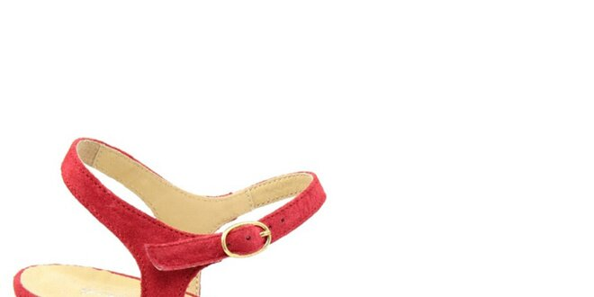 Dámské červené semišové sandálky na nízkém podpatku Giorgio Picino