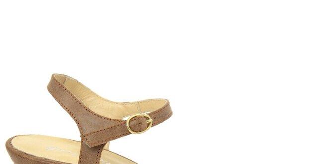 Dámské hnědé kožené sandálky na nízkém podpatku Giorgio Picino