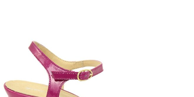 Dámské fuchsiové kožené sandálky na nízkém podpatku Giorgio Picino