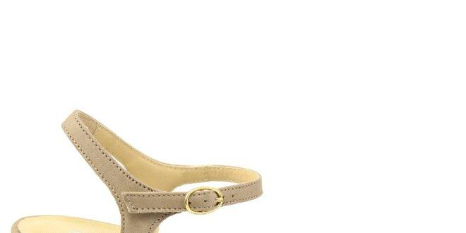 Dámské béžové kožené sandálky na nízkém podpatku Giorgio Picino