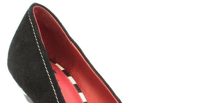 Dámské černé lodičky s puntíkatou mašlí Lola Ramona