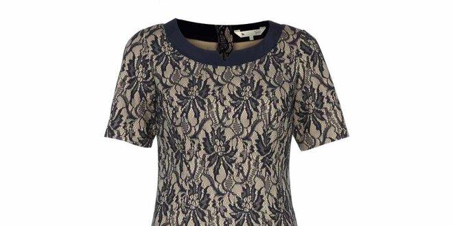 Dámské krajkové šaty s béžovým podkladem Yumi