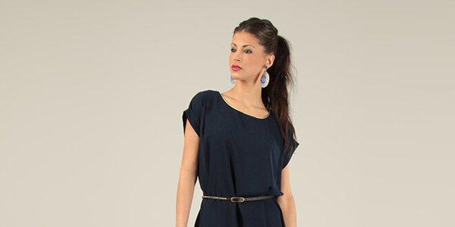 Dámské tmavě modré krátké šaty s páskem Lili Lovely  e13247e792