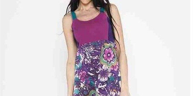 Dámské dlouhé fialové šaty na ramínka Mahal