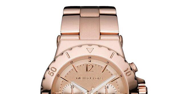 Dámské hodinky s chronografem v barvě růžového zlata Michael Kors