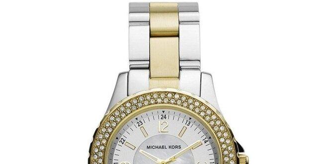 Dámské hodinky z ušlechtilé oceli s pozlacením a zirkony Michael Kors