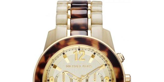 Dámské béžovo-hnědé hodinky s chronografem Michael Kors