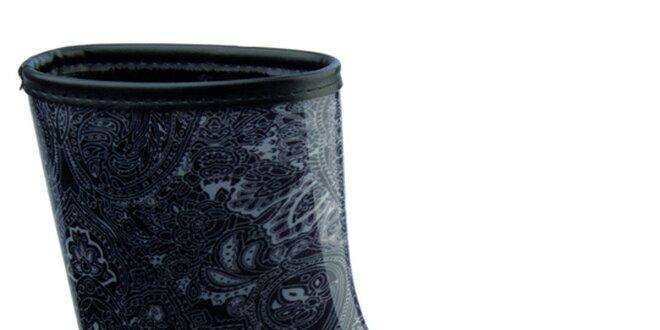 Dámské tmavé holínky s paisley vzorem Keddo