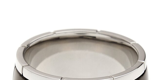 Pánský stříbrný prsten s černým pruhem Cerruti 1881