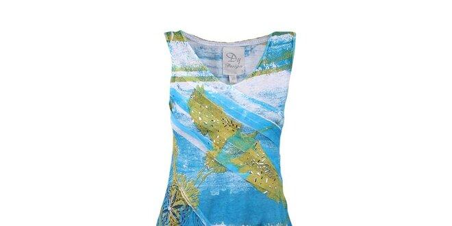 Dámské azurové šaty s cípem Dislay DY Design
