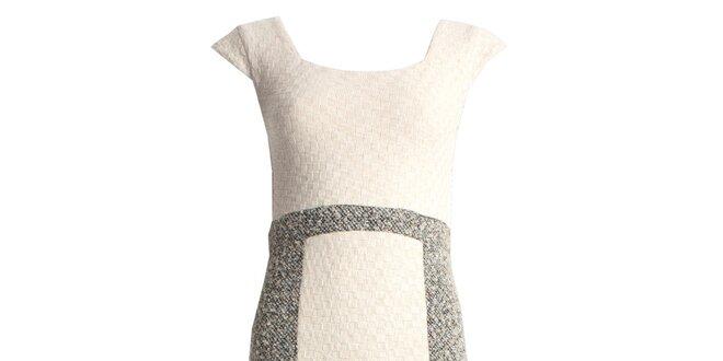 Dámské krémové pouzdrové šaty bez rukávů JDC London
