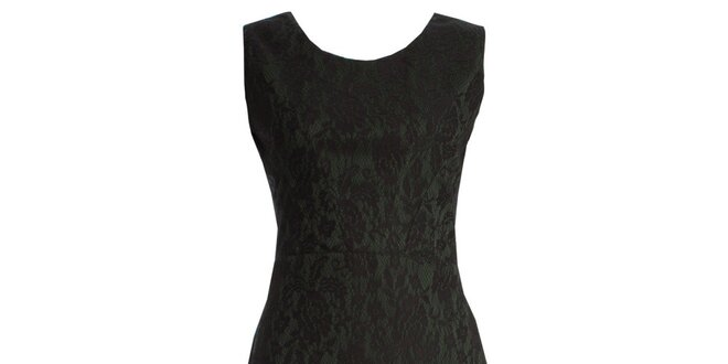 Dámské tmavě zelené šaty s motivem krajky JDC London