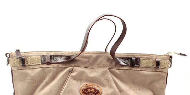Dámská vzorovaná kabelka s hnědými uchy La Martina