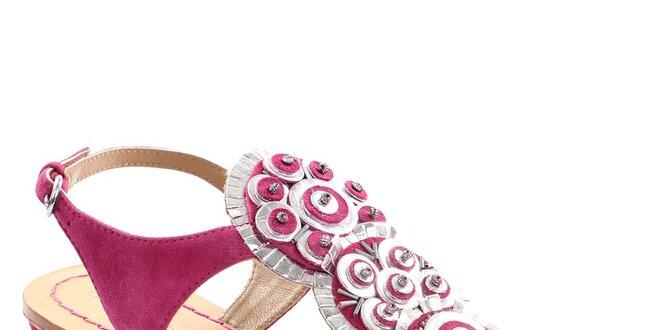Dámské fuchsiové kožené sandály Coral Blue