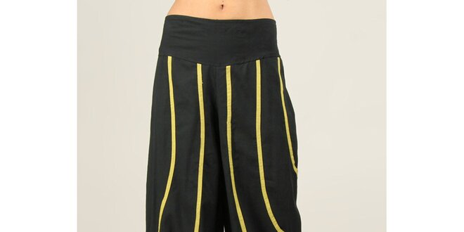 Dámské černé kalhoty s žlutozelenými proužky Ziva