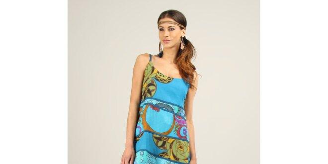 Dámské tyrkysové šaty s modrými lemy Ziva