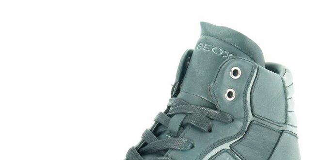 Dámské černé kožené kotníkové tenisky Geox