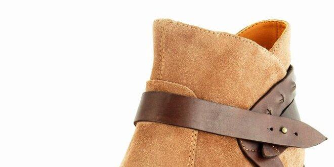 Dámské béžové semišové kotníčkové boty Geox