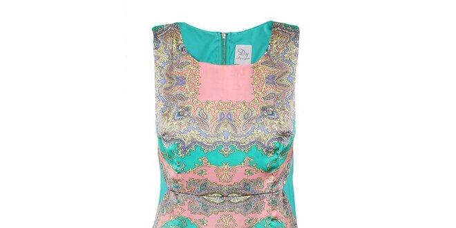 Dámské zelené šaty s barevným vzorem na předním díle Dislay DY Design