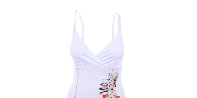 Dámské bílé šaty na ramínka s ozdobou Dislay DY Design