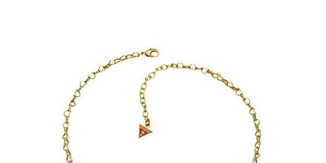 059b1814c Dámský zlatý kovový náhrdelník s přívěsky srdce Guess | Slevomat.cz