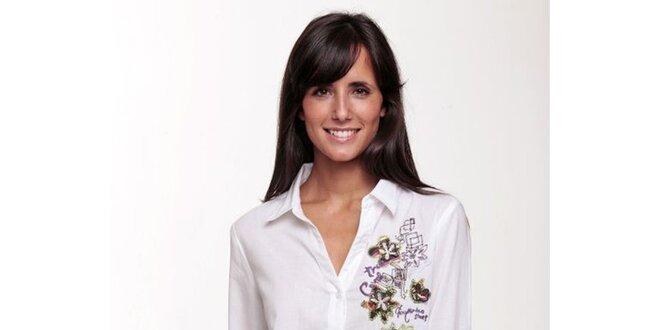 Bílá košile se vzorem Peace&Love