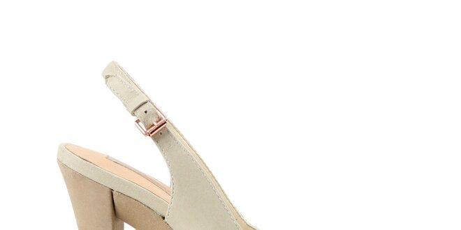 dd8a4172fff4f Dámské krémové lodičky s otevřenou špičkou Cubanas Shoes   Slevomat.cz