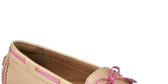 Dámské béžové kožené mokasíny s růžovými prvky Clarks
