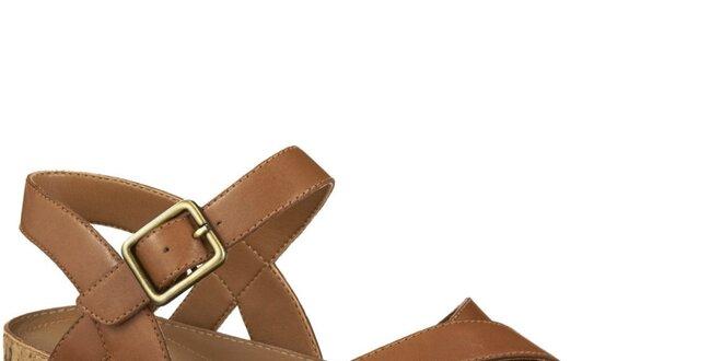Dámské hnědé páskové sandály Clarks