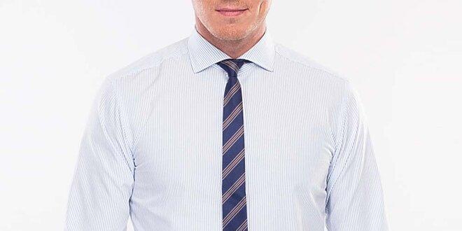 Pánská modře proužkovaná slim fit košile Blažek  9f5b686cd4
