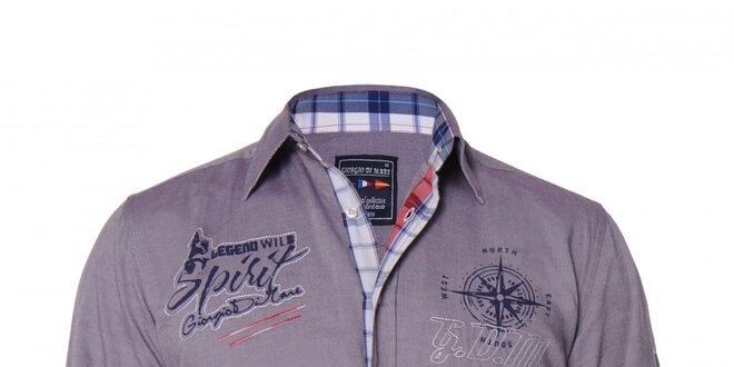 Pánská fialová košile s nášivkami Giorgio di Mare  8927adea61
