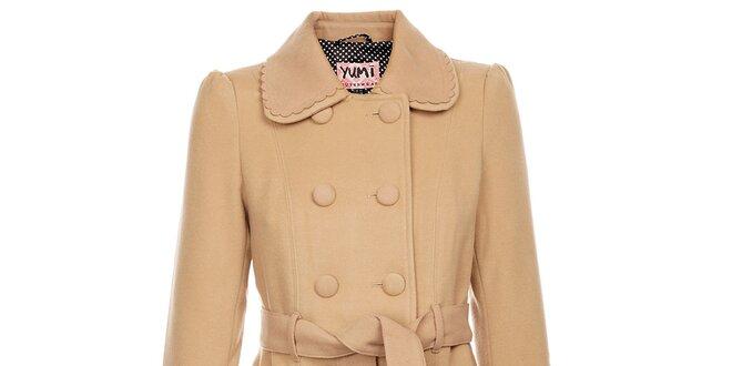 2ae46c48b8 Dámský světle béžový zimní kabát Yumi