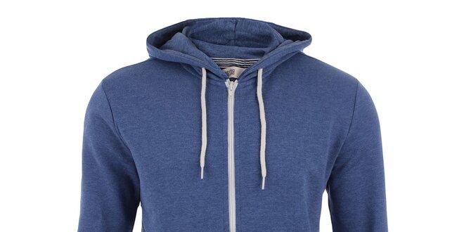 04683a2c25f Pánská modrá mikina na zip s kapucí Big Star