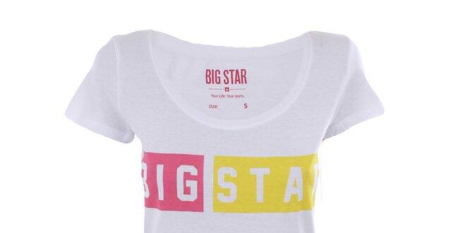 67ce4ffea21 Dámské bílé tričko s barevným nápisem Big Star