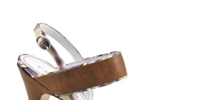 Dámské hnědé sandálky s kostkovanými detaily Café Noir