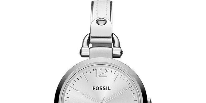 Dámské kulaté stříbrné hodinky Fossil