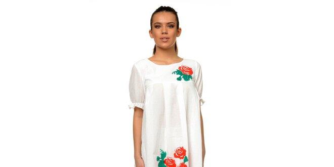 d8d3c1f1ed79 Dámské bílé šaty s růžemi Joseph Alessander
