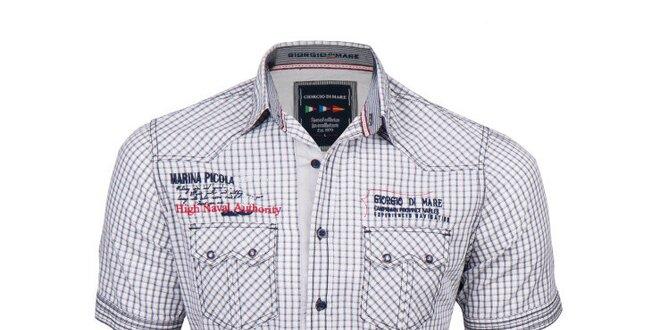 Pánská černě kostkovaná košile s krátkým rukávem Giorgio di Mare ... 4e500696d7