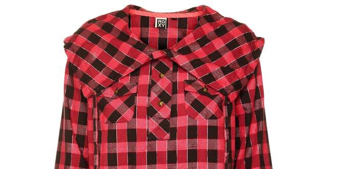 Dámská červeno-černá kostkovaná košile s výrazným límcem Roxy ... 2a4c193a3a