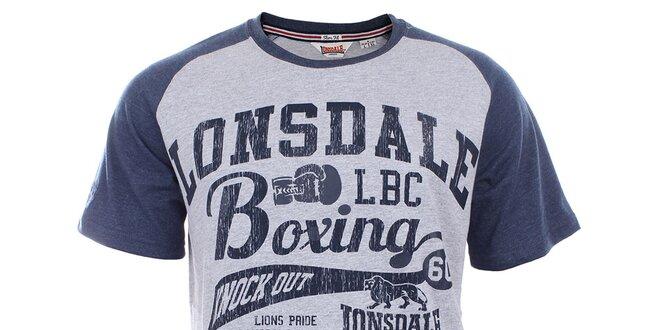 3780bfc01bec Pánské šedo-modré slim fit tričko s krátkým rukávem Lonsdale ...