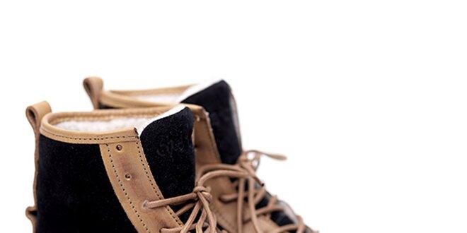 Pánské černo-béžové semišové boty Shoe the Bear