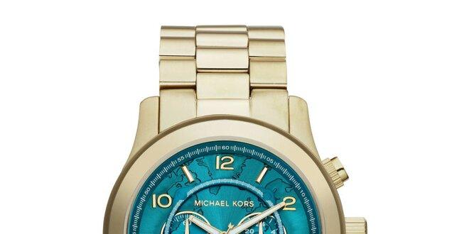 Dámské pozlacené hodinky s tyrkysovým ciferníkem Michael Kors
