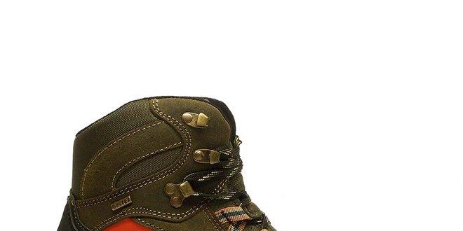 Pánské hnědé zimní trekové boty s oranžovým proužkem Numero Uno