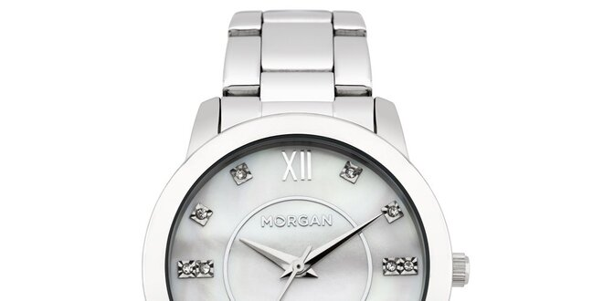 05e43b1af38 Dámské hodinky z nerezové oceli MORGAN bílý stříbrný perleťový ciferník