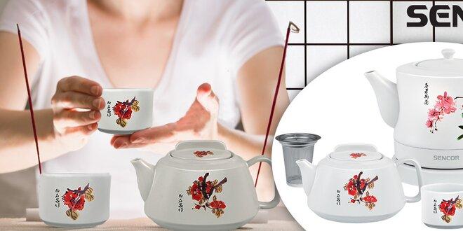 Porcelánová rychlovarná konvice s čajníkem a šálky