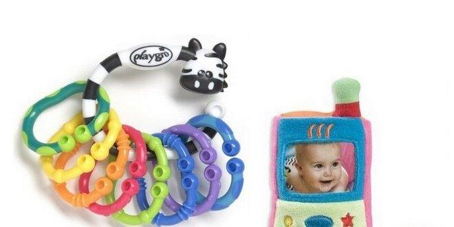 SET Playgro 1 - Zebra s kroužky+Můj první mobilní telefon+Kousací knížka se…