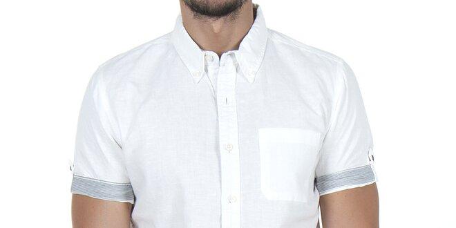 Pánská bílá košile s proužky na rukávu Giorgio di Mare  113b496d8e